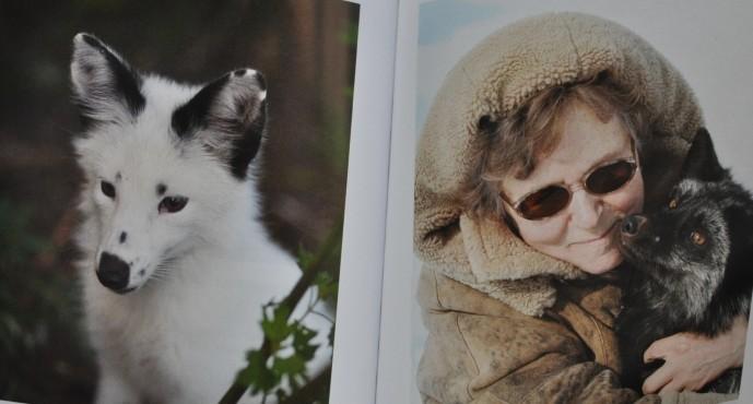 털이 하얗고 반점이 있는 여우개(왼쪽)와 애지중지하는 여우개를 안고 있는 류드밀라 투르트(오른쪽). - 세포학·유전학연구소, Vasily Kovaly 제공